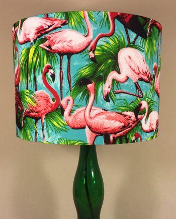 Bespoke lampshade in Tropical Flamingo fabric