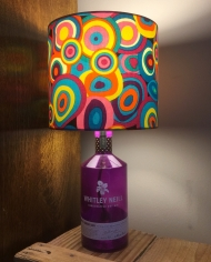 Festival gin bottle lamp with handmade shade