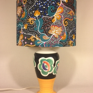 Floral Dance vintage lamp with handmade shade
