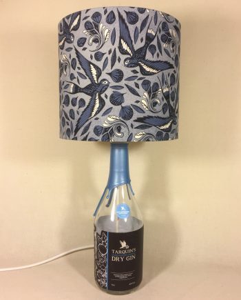 Cornish Blue bottle lamp with handmade shade