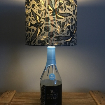 Cornish Blue bottle lamp with handmade shade