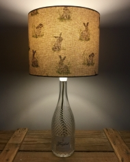 Hare of the Dog bottle lamp with handmade shade