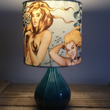 A Mermaids Tale vintage lamp and handmade shade