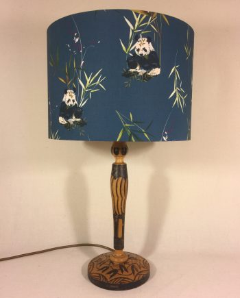 Panda-monium vintage lamp with handmade shade