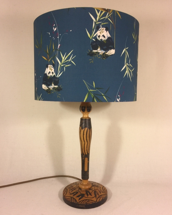 Panda-monium vintage lamp with handmade shade