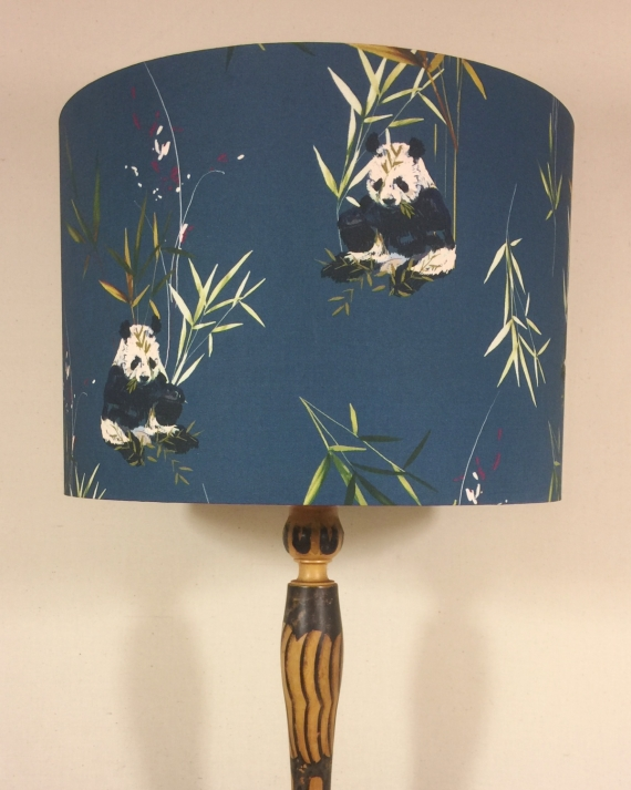 Bespoke lampshade in Navy Panda fabric