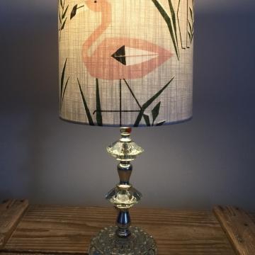 Pretty Flamingo vintage lamp with handmade shade