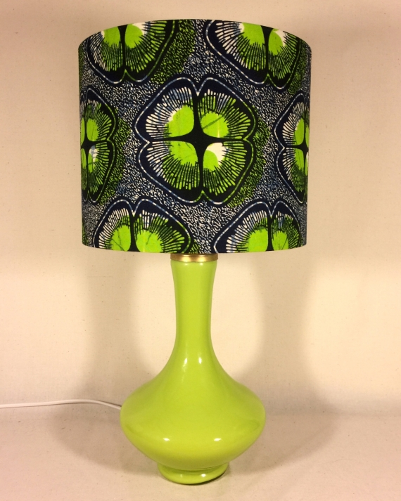 Spring Green vintage lamp with handmade shade