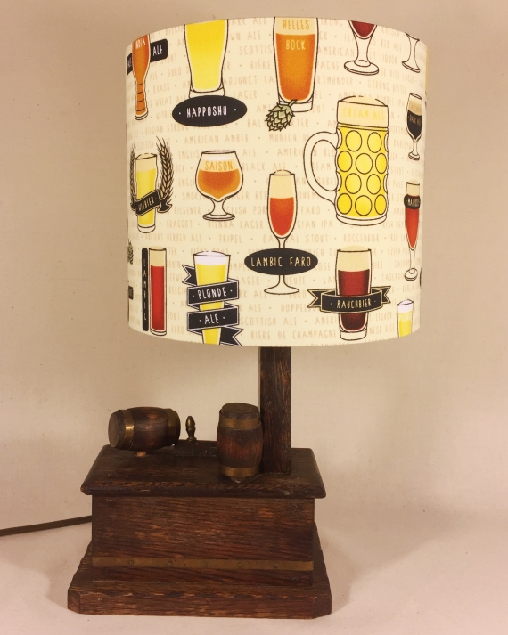 Time at the Bar vintage lamp with handmade shade