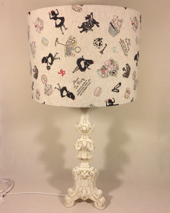 Time for Tea vintage lamp with handmade shade