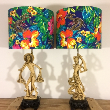 Snap Dragon vintage lamp with handmade shade