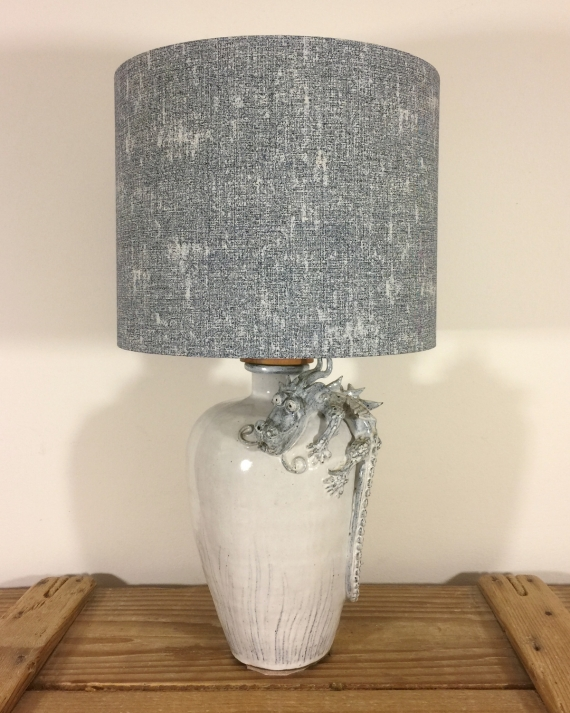 Toothless vintage lamp with handmade shade