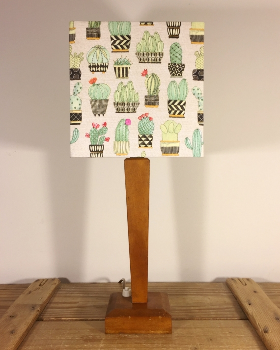 Prickly Pear vintage lamp with handmade shade