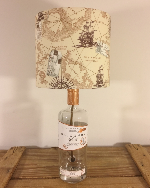 Sail Away bottle lamp with handmade shade