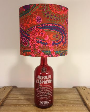 Raspberry Crush bottle lamp with handmade shade