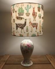 All Llama No Drama vintage lamp and handmade shade