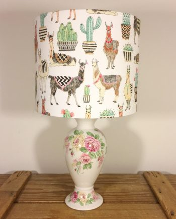 All Llama No Drama vintage lamp and handmade shade