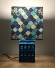 Mediterranean Blue vintage lamp with handmade shade