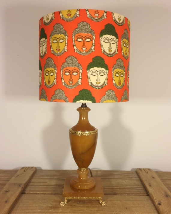 Namaste vintage lamp with handmade shade