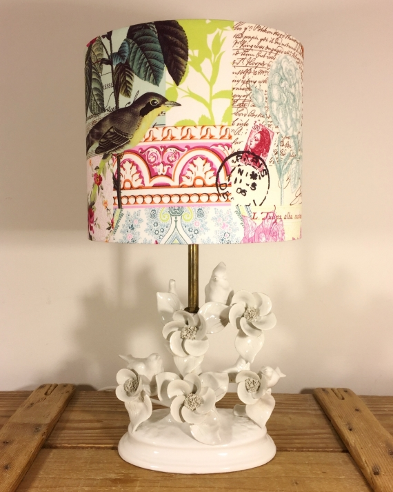 Twitter vintage lamp with handmade shade