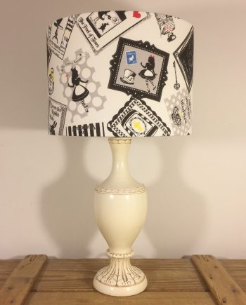 Mad Hatter's Tea Party vintage lamp with handmade shade
