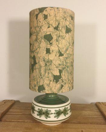 Sage Peony vintage lamp with handmade shade
