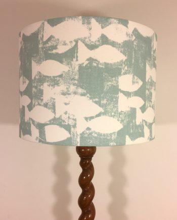 Handmade lampshade in aqua fish fabric