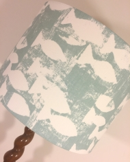 Handmade lampshade in aqua fish fabric