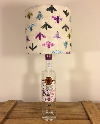 Bee Calm bottle lamp with handmade shade
