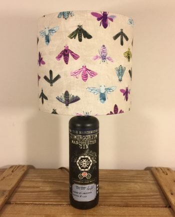 Bee Calm bottle lamp and handmade shade