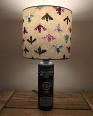 Bee Calm bottle lamp and handmade shade