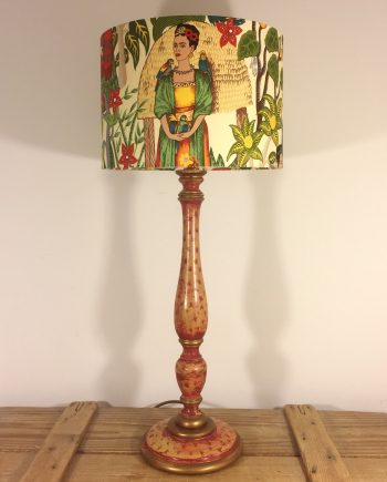 Frida's Festive Garden vintage lamp and handmade shade