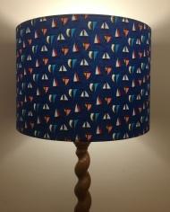 Bespoke lampshade in sailboat fabric