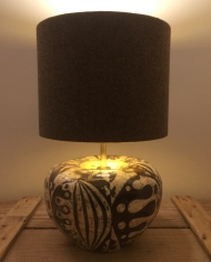Abstract vintage lamp with handmade shade
